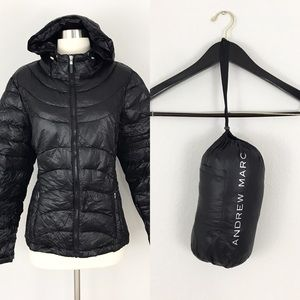 Andrew Marc Large Packable Down Jacket Black